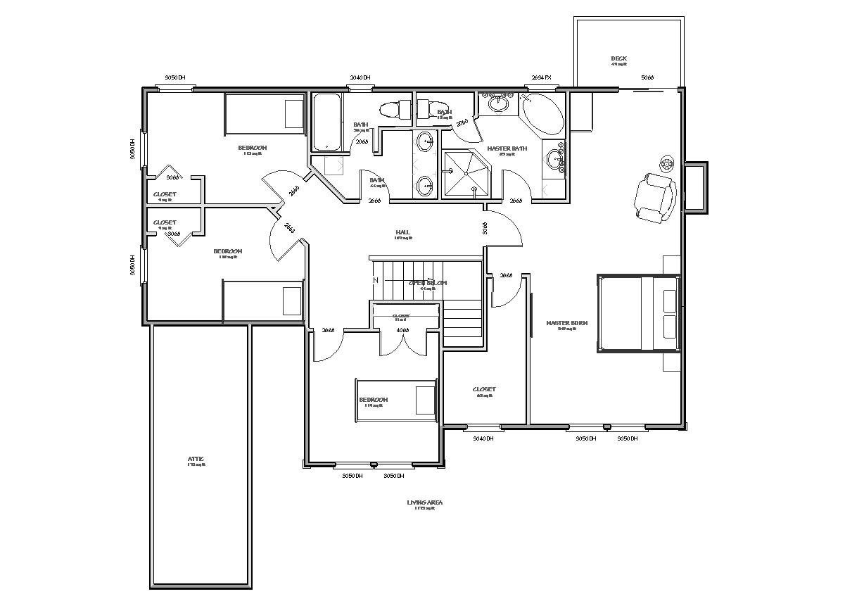 House Plan, 2423 sqft 3 bedroom 2.5 bath Traditional House Plan ...