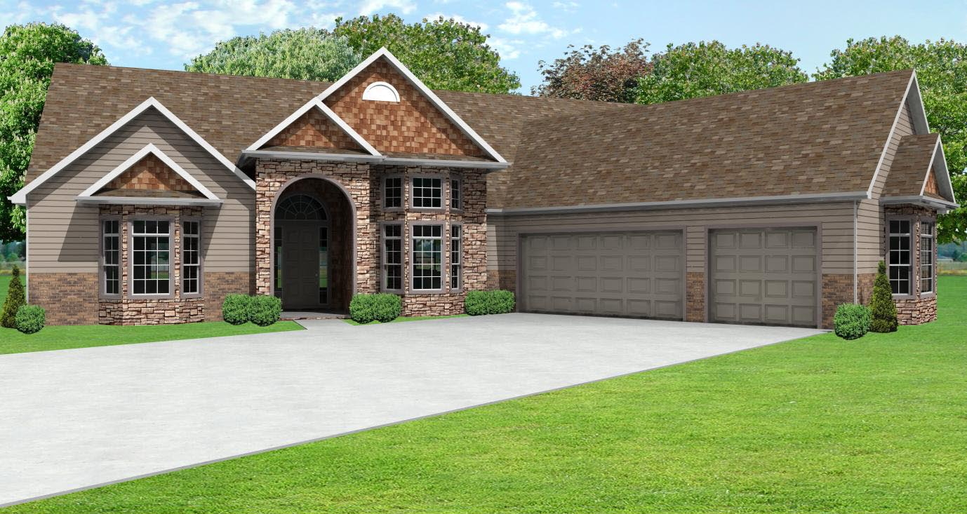 European ranch house plan greatroom ranch house plan with for Ranch style house with garage